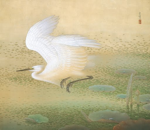 White-Heron-Sakakibara-Shiho-Unknown-Repro-Art-Photo-Poster-Print-Satin-Canvas-M