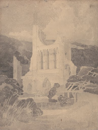 West-Front-Byland-Abbey-Yorkshire-John-Sell-Cotman-Unknown-Vintage-Art-Poster