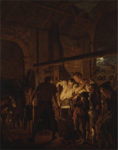 Blacksmiths-Shop-Joseph-Wright-Derby-1771-Art-Photo-Poster-Repro-Print-Many-Siz