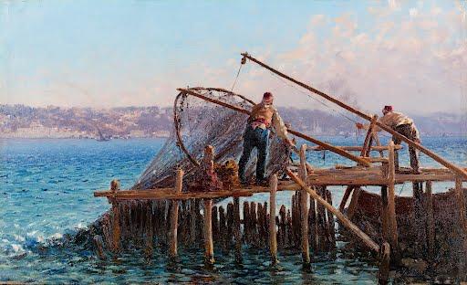 Fishermen-Bringing-In-Catch-Fausto-Zonaro-late-19th-Century-early-20th-Century