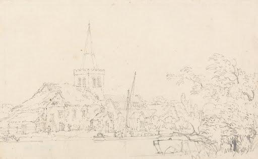 Great-Marlow-Church-Buckinghamshire-Thomas-Girtin-1795-Quality-Art-Photo-Poste