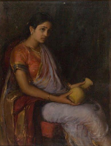 Girl-With-Vase-Antonio-Xavier-Trindade-late-19th-Century-early-20th-Century-Art